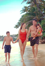 Picture of family walking on the beach